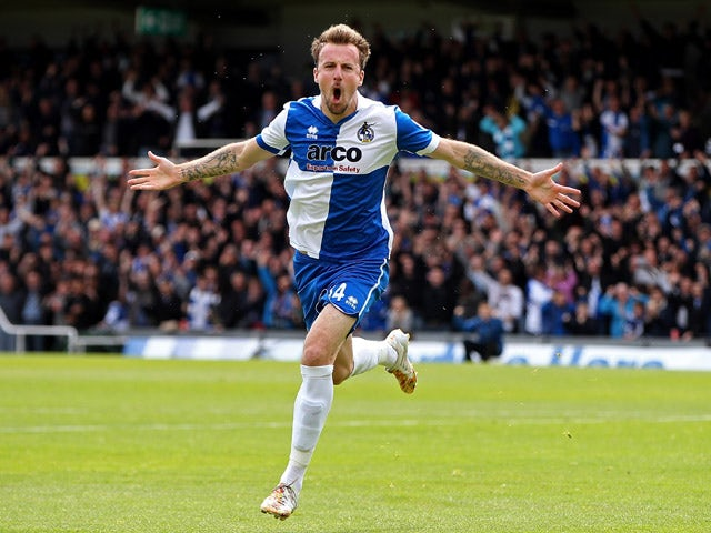 Chris Lines of Bristol celebrates scoring the opening goal of the game during the Vanarama Football Conference League Play Off Semi Final Second Leg between Bristol Rovers and Forest Green Rovers at Memorial Stadium on May 3, 2015
