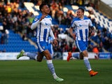 Jacob Murphy of Colchester United celebrates his goal during the Sky Bet League One match between Colchester United and Swindon Town at Colchester Community Stadium on April 28, 2015