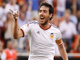 Valencia's midfielder Dani Parejo celebrates after scoring during the Spanish league football match Valencia CF vs SD Eibar at the Mestalla stadium in Valencia on May 3, 2015