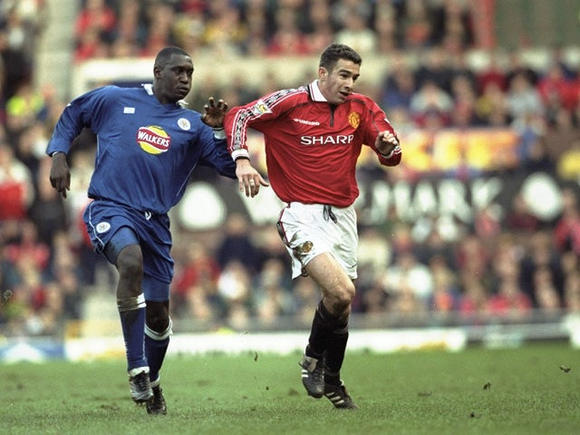 Emile Heskey of Leicester challenges Danny Higginbottom of Manchester United during the FA Carling Premiership match played at Old Trafford in Manchester on November 6, 1999