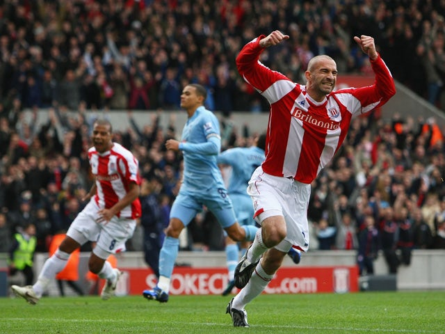 Danny Higginbotham of Stoke City celebrates scoring his penalty during the Barclays Premier League match between Stoke City and Tottenham Hotspur at the Brittania Stadium on October 19, 2008