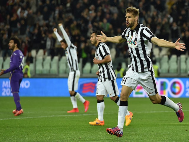 Fernando Llorente of Juventus FC celebrates his goal during the Serie A match between Juventus FC and ACF Fiorentina at Juventus Arena on April 29, 2015