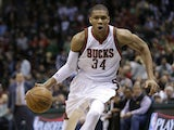 Giannis Antetokounpo #34 of the Chicago Bulls dribbles the basketball up the court during the first quarter against the Milwaukee Bucks in the first round of the 2015 NBA Playoffs at the BMO Harris Bradley Center on April 30, 2015