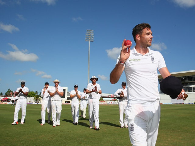 James Anderson of England with figures of 6 for 42 acknowledges the crowds applause during day two of the 3rd Test match between West Indies and England at Kensington Oval on May 2, 2015