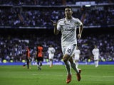 James Rodriguez of Real Madrid CF celebrates scoring their opening goal during the La Liga match between Real Madrid CF and UD Almeria at Estadio Santiago Bernabeu on April 29, 2015