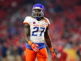 Running back Jay Ajayi #27 of the Boise State Broncos warms up before the Vizio Fiesta Bowl against the Arizona Wildcats at University of Phoenix Stadium on December 31, 2014