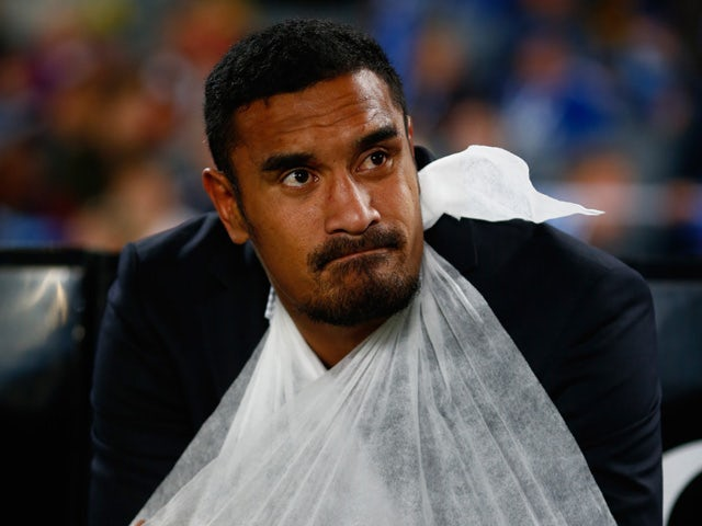 Jerome Kaino of the Blues sits injured on the bench during the round 12 Super Rugby match between the Blues and the Force at Eden Park on May 2, 2015