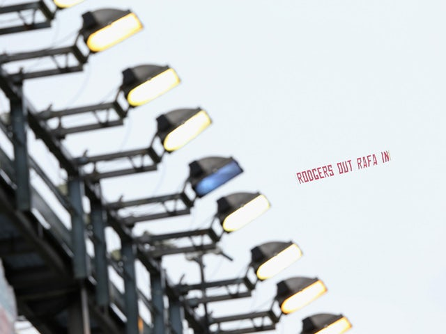 A message for Brendan Rodgers, manager of Liverpool is flown over the ground during the Barclays Premier League match between Liverpool and Queens Park Rangers at Anfield on May 2, 2015