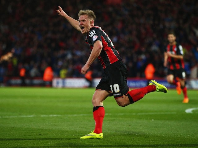 Matt Ritchie celebrates scoring Bournemouth's second goal on April 27, 2015