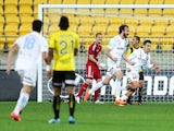 Joshua Kennedy of Melbourne City celebrates his goal during the A-League Elimination match between the Wellington Phoenix and Melbourne City FC at Westpac Stadium on May 3, 2015