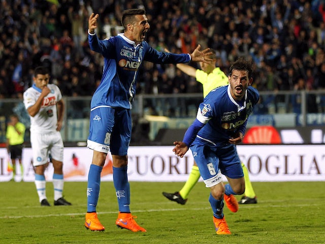 Riccardo Saponara of Empoli FC celebrates after scoring a goal during the Serie A match between Empoli FC and SSC Napoli at Stadio Carlo Castellani on April 30, 2015