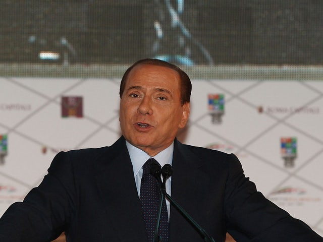 Italian Prime Minister Silvio Berlusconi attends the meeting to unveil the City of Rome's projects for the 2020 Olympic Games bid on February 23, 2011