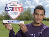 Derby winger Tom Ince with his Championship Player of the Month award for April on April 30, 2015