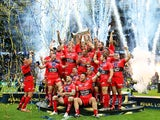 The Toulon team celebrate their victory during the European Rugby Champions Cup Final match between ASM Clermont Auvergne and RC Toulon at Twickenham Stadium on May 2, 2015