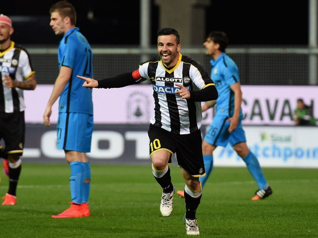 Antonio Di Natale of Udinese Calcio celebrates after scoring his teams first goal during the Serie A match between Udinese Calcio and FC Internazionale Milano at Stadio Friuli on April 28, 2015