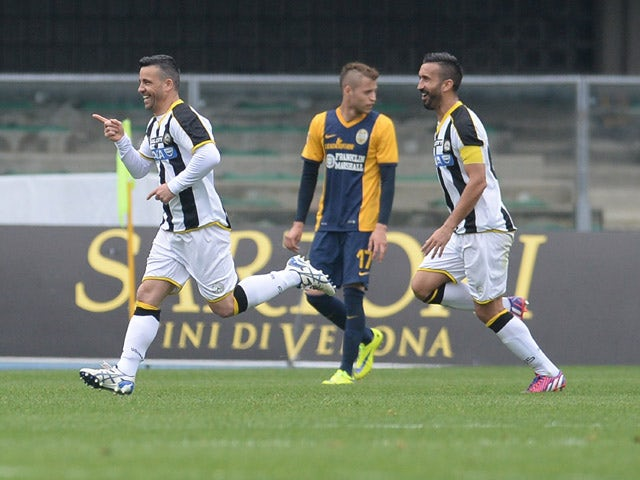 Antonio Di Natale of Udinese Calcio celebrates after scoring his opening goal during the Serie A match between Hellas Verona FC and Udinese Calcio at Stadio Marc'Antonio Bentegodi on May 3, 2015