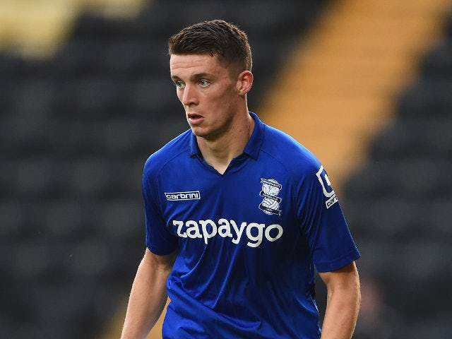 Birmingham City's Callum Reilly looks for a pass during a pre-season friendly against Notts County on July 29, 2014