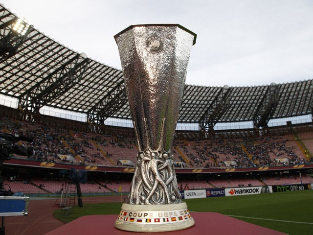 The UEFA Europa League trophy is pictured before the UEFA Europa League semi final first leg football match SSC Napoli vs FK Dnipro Dnipropetrovsk on May 7, 2015