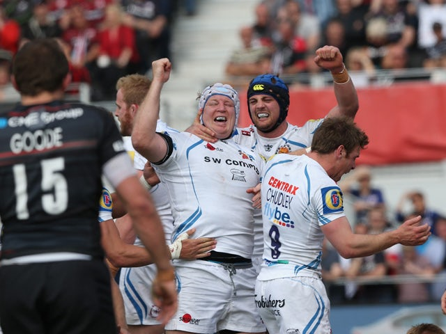 Thomas Waldrom of Exeter celebrates after scoring a second half try during the Aviva Premiership match between Saracens and Exeter Chiefs at Allianz Park on May 10, 2015