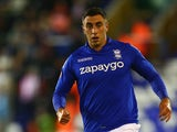 Birmingham City's Lee Novak looks startled during the League Cup second-round match against Sunderland on August 27, 2014