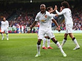 Ashley Young of Manchester United celebrates the goal scored by Marouane Fellaini during the Barclays Premier League match between Crystal Palace and Manchester United at Selhurst Park on May 9, 2015