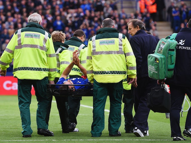 Matty James of Leicester leaves the field on a stretcher during the Barclays Premier League match between Leicester City and Southampton at The King Power Stadium on May 9, 2015