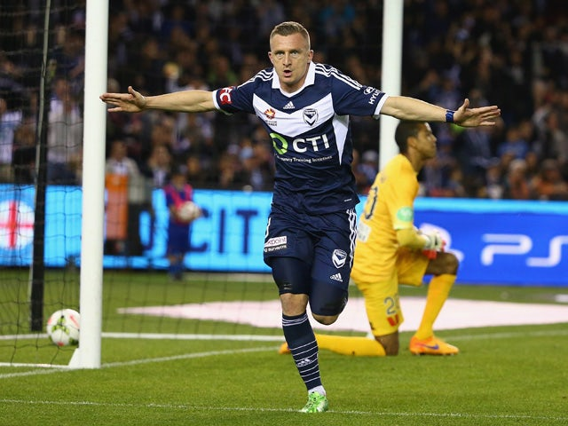 Besart Berisha of the Victory celebrates after scoring a goal during the A-League semi final match between Melbourne Victory and Melbourne City at Etihad Stadium on May 8, 2015
