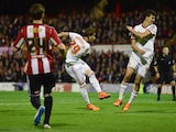 Fernando Amorebieta of Middlesbrough (29) scores their second goal during the Sky Bet Championship Playoff semi-final first leg match between Brentford and Middlesbrough at Griffin Park on May 8, 2015