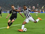 Patrice Evra of Juventus takes on Daniel Carvajal of Real Madrid CF during the UEFA Champions League semi final first leg match between Juventus and Real Madrid CF at Juventus Arena on May 5, 2015