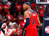Paul Pierce #34 of the Washington Wizards reacts in the final seconds of their 104-98 win over the Atlanta Hawks during Game One of the Eastern Conference Semifinals of the 2015 NBA Playoffs at Philips Arena on May 3, 2015