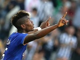 French midfielder Paul Pogba celebrates after scoring during the Italian Serie A football match between Juventus andCagliari on May 9, 2015