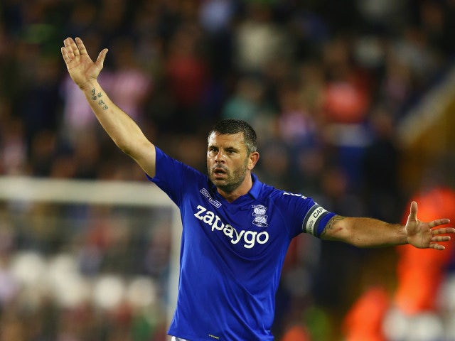 Birmingham City captain Paul Robinson gestures during a League Cup second-round clash with Sunderland on August 27, 2014