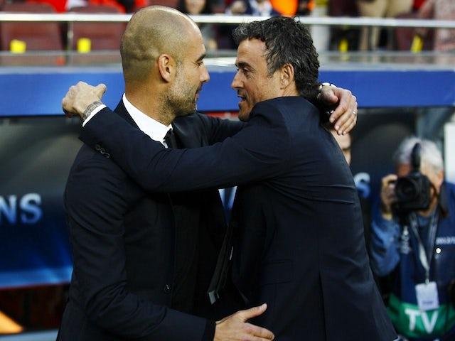 Bayern munichs spanish head coach pep guardiola l and barcelonas bayern munichs spanish head coach pep guardiola l and barcelonas coach luis enrique greet m4hsunfo