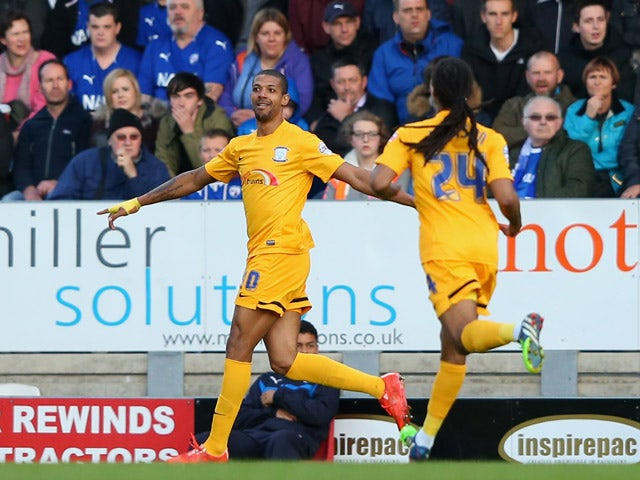 Jermaine Beckford of Preston North End celebrates his goal during the Sky Bet League One Playoff Semi-Final, first leg match between Chesterfield and Preston North End at the Proact Stadium on May 7, 2015