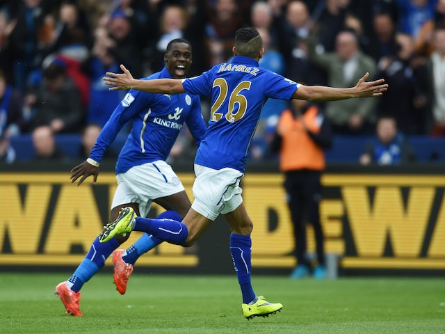 Riyad Mahrez of Leicester City celebrates scoring the opening goal during the Barclays Premier League match between Leicester City and Southampton at The King Power Stadium on May 9, 2015
