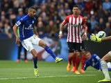 Riyad Mahrez of Leicester City scores the second goal during the Barclays Premier League match between Leicester City and Southampton at The King Power Stadium on May 9, 2015