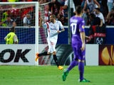 Aleix Vidal of Sevilla celebrates scoring the opening goal during the UEFA Europa League Semi Final first leg match between FC Sevilla and ACF Fiorentina at Estadio Ramon Sanchez Pizjuan on May 7, 2015