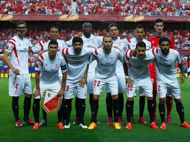 The Sevilla team line up during the UEFA Europa League Semi Final first leg match between FC Sevilla and ACF Fiorentina at Estadio Ramon Sanchez Pizjuan on May 7, 2015