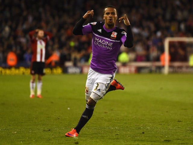 Nathan Byrne of Swindon Town celebrates scoring the winning goal during the Sky Bet Championship semi final match first leg match between Sheffield United and Swindon Town at Bramall Lane on May 7, 2015