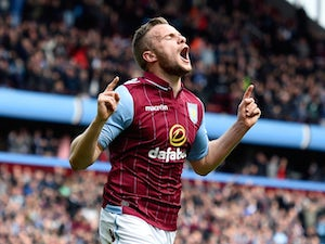Tom Cleverley of Aston Villa celebrates scoring the opening goal during the Barclays Premier League match between Aston Villa and West Ham United at Villa Park on May 9, 2015
