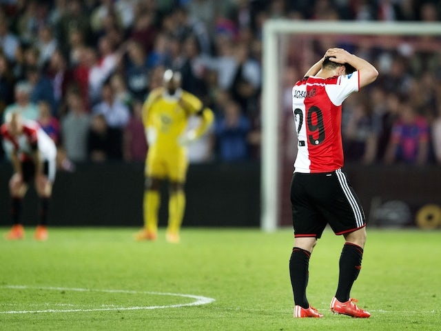 Anass Achabar of Feyenoord Rotterdam reacts after losing against Vitesse Arnhem during the Eredivisie match in Rotterdam on May 11, 2015