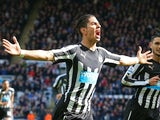 Ayoze Perez celebrates scoring for Newcastle on May 9, 2015