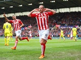 Charlie Adam celebrates scoring for Stoke City on May 9, 2015