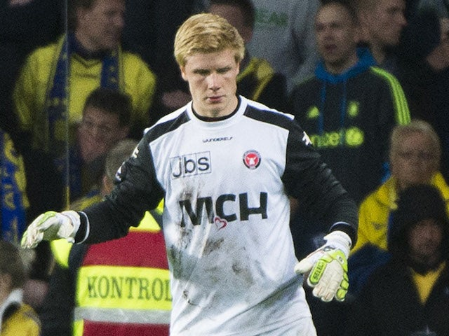 Jakob Haugaard of FC Midtjylland in action during the Danish Superliga match between Brondby IF and FC Midtjylland at the Brondby Stadium on May 08, 2014
