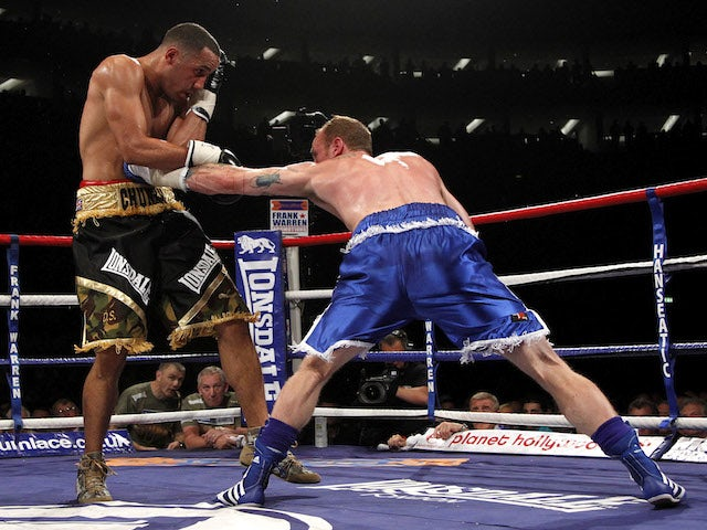 George Groves (R) lands a punch on James DeGale , during their British and Commonwealth Super-Middleweight Championship title boxing fight at the O2 Arena, in London on May 21, 2011