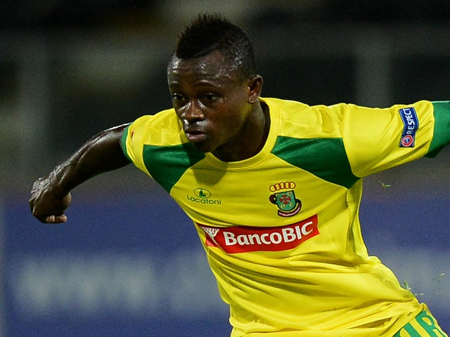 Pacos Ferreira's Ivorian midfielder Jean Michel Seri during the UEFA Europa league Group E football match FC Pacos de Ferreira vs FC Dnipro Dnipropetrovsk at the Dom Afonso Henriques stadium in Guimaraes on October 24, 2013