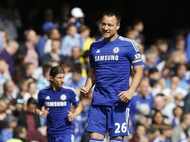 John Terry celebrates scoring for Chelsea on May 10, 2015