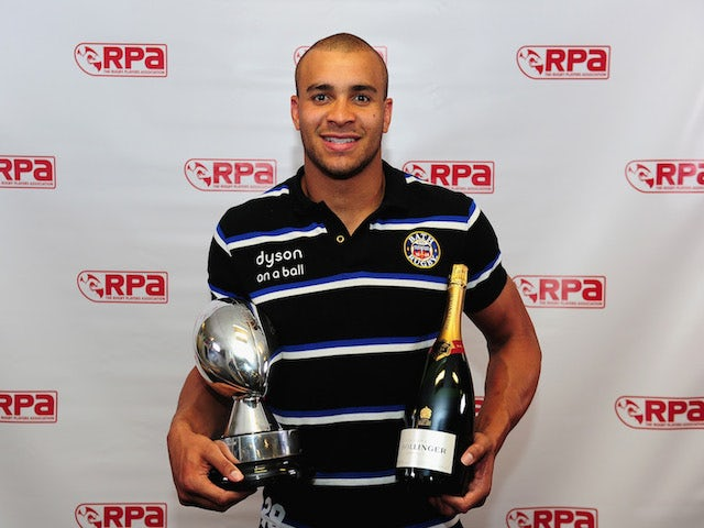 Bath Rugby centre, Jonathan Joseph, with his double at the RPA Players' Awards 2015, having been crowned both the RPA Players' Player of the Year and The England Player of the Year 2015. Photo taken on May 12, 2015