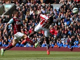 Mame Biram Diouf of Stoke City heads toward the goal during the Barclays Premier League match between Burnley and Stoke City at Turf Moor on May 16, 2015