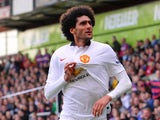 Marouane Fellaini celebrates scoring for Manchester United on May 9, 2015
